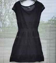 H&M št. 38 / 40 črna mrežasta obleka bombaž