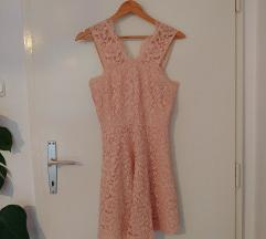Roza čipkasta oblekica