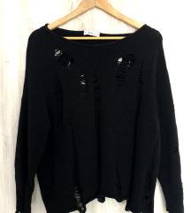 ZARA ripped črni pulover