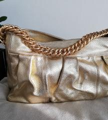 Večja zlata usnjena torba