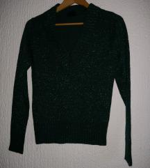 Nov temno zelen pulover z bleščicami XS/S