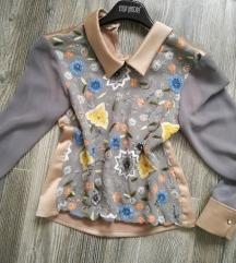 Unikatna svilena srajcka z bisercki