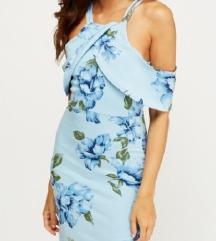 Modra cvetlična obleka