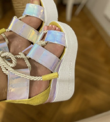 Sandali s polno peto(neon,srebrno,vijola,