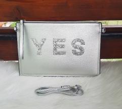 YES modna srebrna torbica