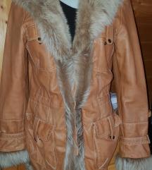Usnjena jakna(pravo usnje+pravo krzno)vel. M
