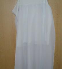 Bela tunika - daljša majica - brez rokavov