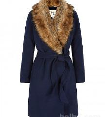 Navy Faux Fur Collar Wrap Coat