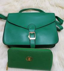 Zelena torbica in denarnica