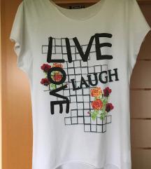 Bela bombažna majica z napisom in vrtnicami