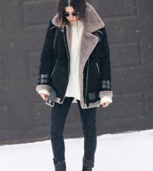 Zara črna Faux Fur Aviator Shearling Biker jakna