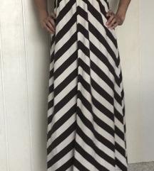 Dolga črtasta obleka iz bombaža