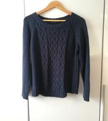 navy blue pleten pulover