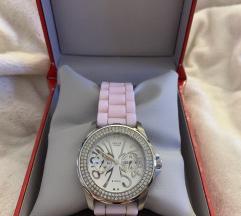 Znizano Guess ročna ura z roza gumijastim paščkom