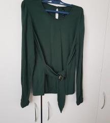 zelena bluzica s pasom Stradivarius