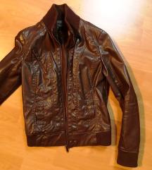 Rjava usnjena jakna Bershka