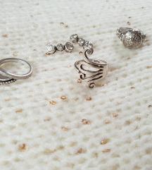 Srebrn nakit 925 - 3x prstan, 1x uhani