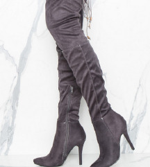 Semiš škornji čez koleno, št. 41, peta 11 cm