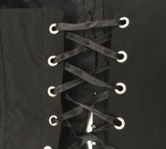 črn top kozet lace up