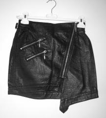 H&M črno kratko krilo iz umetnega usnja