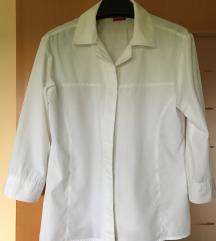 Bela bombažna bluza s 3/4 rokavi