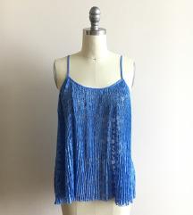 Zara modra čipkasta bluzica