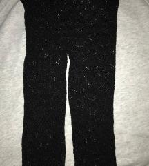 Črne čipkaste kapri hlačne nogavice (S/M)