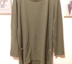 Olivno zelena tunika - pulover