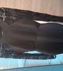 Črna telirana ozka obleka s čipko