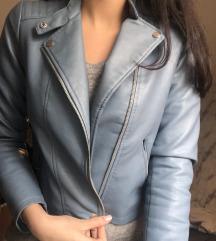 Modra usnjena jakna
