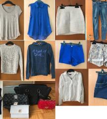 Komplet oblačil (14 majic, hlač, 4 torbice, nakit)