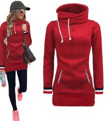 Rdeč dolg kapucar pulover hoodie S-M