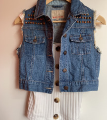 NOVA krajša jeans jaknica/brezrokavnik