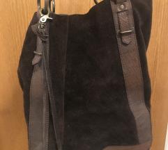 Usnjena rjava torba Pepe Jeans