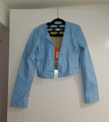 Usnjena jaknica kratka svetlo modra