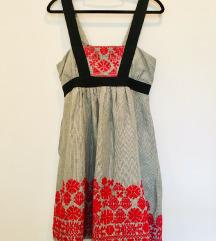 MNG by Mango lanena vezena obleka S/M