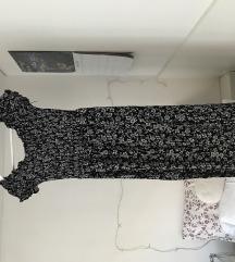 Črno bela dolga obleka z rožicami