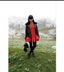 Scuba rdeča frill obleka