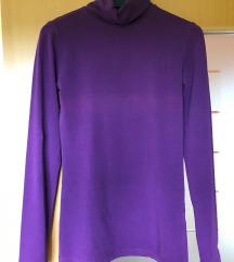 Vijolična tanka bombažna majica s puli ovratnikom