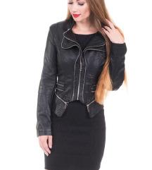 Crna usnjena jakna s ptt