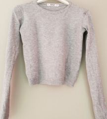 Pull&Bear siv crop pulover S