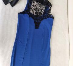 Modra obleka s čipko