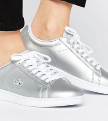 Lacoste silver trainers