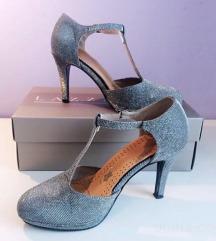 NOVI srebrni čevlji Lazzarini