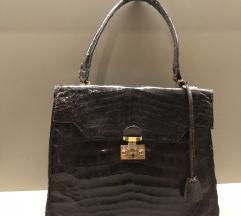 rjava torbica iz krokodiljevega usnja iz 50ih let