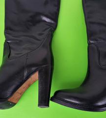 Škornji, pravo usnje, 1x obuti