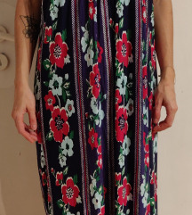Maxi dolga vijolična obleka s potiskom ZARA