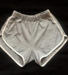 Sive kratke hlače z visokim pasom XS/S