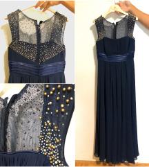 Modra dolga obleka z biseri