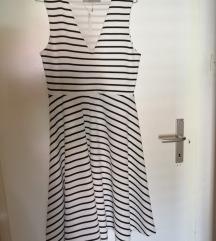 Črno bela Midi obleka